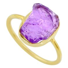 6.95cts natural purple amethyst raw 14k gold handmade ring size 9 r70986