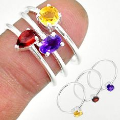 3.02cts natural purple amethyst red garnet 925 silver 3 rings size 6.5 r92467