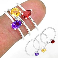 2.82cts natural purple amethyst red garnet 925 silver 3 rings size 6.5 r92477