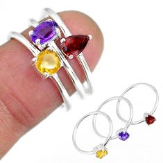 2.91cts natural purple amethyst red garnet 925 silver 3 rings size 6.5 r92496