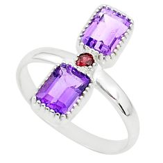 3.21cts natural purple amethyst red garnet 925 sterling silver ring size 8 t5599