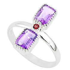 3.17cts natural purple amethyst red garnet 925 sterling silver ring size 9 t5596