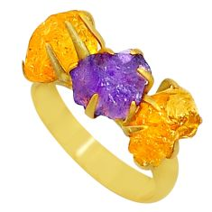 8.42cts natural purple amethyst raw 14k gold handmade ring size 7 t34964