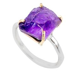 5.22cts natural purple amethyst raw 925 silver 14k gold ring size 7 t47101