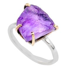 5.43cts natural purple amethyst raw 925 silver 14k gold ring size 7 t47105