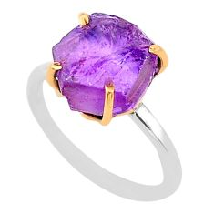 6.15cts natural purple amethyst raw 925 silver 14k gold ring size 7 t47127
