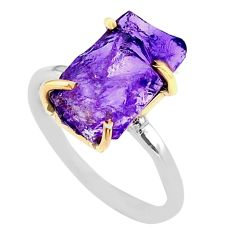 5.54cts natural purple amethyst raw 925 silver 14k gold ring size 7 t47129