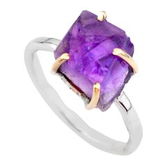 5.43cts natural purple amethyst raw 925 silver 14k gold ring size 8 t47107