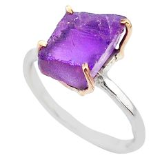 6.03cts natural purple amethyst raw 925 silver 14k gold ring size 8.5 t47103