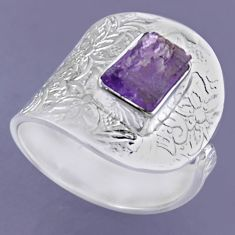 2.97cts natural purple amethyst rough 925 silver adjustable ring size 8 r54866