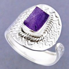 2.72cts natural purple amethyst rough 925 silver adjustable ring size 9 r54788