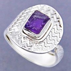 2.72cts natural purple amethyst rough 925 silver adjustable ring size 9 r54791