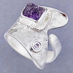 2.97cts natural purple amethyst rough 925 silver adjustable ring size 9 r54828