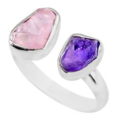 9.16cts natural purple amethyst raw 925 silver adjustable ring size 9 t35162