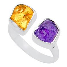 8.71cts natural purple amethyst raw 925 silver adjustable ring size 8.5 t37782