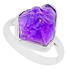 8.65cts natural raw purple amethyst rough 925 silver ring size 8 r88578