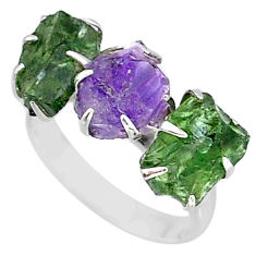 8.87cts natural purple amethyst raw apatite rough 925 silver ring size 7 t7057