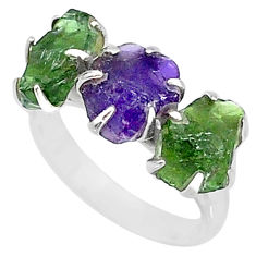 8.87cts natural purple amethyst raw apatite rough 925 silver ring size 7 t7070