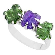 8.87cts natural purple amethyst raw apatite rough 925 silver ring size 8 t7048