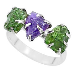 8.93cts natural purple amethyst raw apatite rough 925 silver ring size 8 t7060