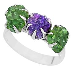 9.33cts natural purple amethyst raw apatite rough 925 silver ring size 9 t7052