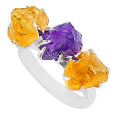 8.84cts natural purple amethyst raw citrine rough 925 silver ring size 7 t7143