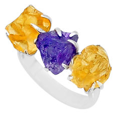 8.95cts natural purple amethyst raw citrine rough 925 silver ring size 7 t7149