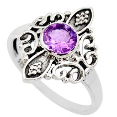 1.08cts natural purple amethyst silver solitaire ring jewelry size 5.5 r35911