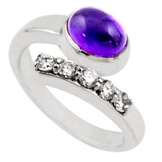 4.02cts natural purple amethyst topaz 925 silver adjustable ring size 7.5 r54566