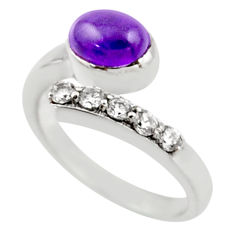 3.72cts natural purple amethyst topaz 925 silver adjustable ring size 8.5 r54567
