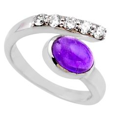 3.58cts natural purple amethyst topaz 925 silver adjustable ring size 7 r54542
