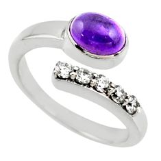 4.02cts natural purple amethyst topaz 925 silver adjustable ring size 8 r54561