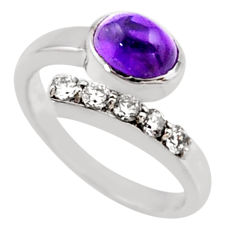 3.39cts natural purple amethyst topaz 925 silver adjustable ring size 8 r54564
