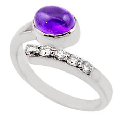 3.91cts natural purple amethyst topaz 925 silver adjustable ring size 9 r54543