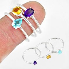 2.98cts natural purple amethyst topaz 925 silver stackable ring size 8 r79866
