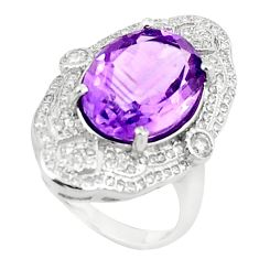 Natural purple amethyst topaz 925 sterling silver ring size 6.5 c17932