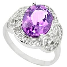 Natural purple amethyst topaz 925 sterling silver ring size 7.5 c17937