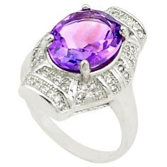 Natural purple amethyst topaz 925 sterling silver ring size 7.5 c17929
