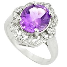 Natural purple amethyst topaz 925 sterling silver ring size 7.5 c17938