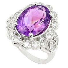 Natural purple amethyst topaz 925 sterling silver ring size 6 c17939