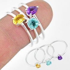2.81cts natural purple amethyst topaz citrine 925 silver 3 rings size 8 t17649