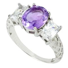 7.00cts natural purple amethyst topaz 925 sterling silver ring size 7 c17931
