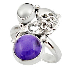 6.89cts natural purple charoite (siberian) 925 silver fish ring size 8 d46083