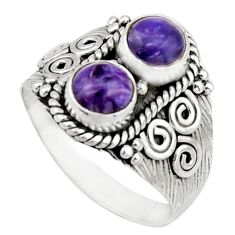 2.44cts natural purple charoite (siberian) 925 silver ring size 8.5 r21004