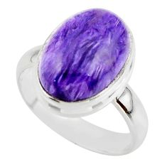6.29cts natural purple charoite (siberian) 925 silver ring size 6.5 r46755