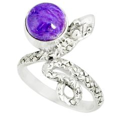3.29cts natural purple charoite (siberian) 925 silver snake ring size 5.5 r78610