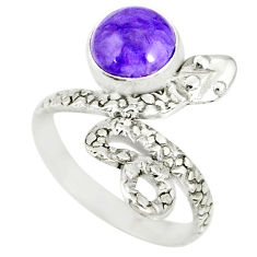 3.26cts natural purple charoite (siberian) 925 silver snake ring size 6.5 r78621