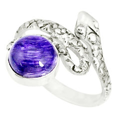 3.08cts natural purple charoite (siberian) 925 silver snake ring size 6.5 r78642