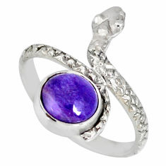 3.26cts natural purple charoite (siberian) 925 silver snake ring size 8.5 r78669