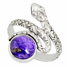 3.26cts natural purple charoite (siberian) 925 silver snake ring size 5.5 r78670